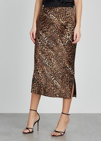 CAMI NYC The Jessica leopard-print silk midi skirt / side split skirts