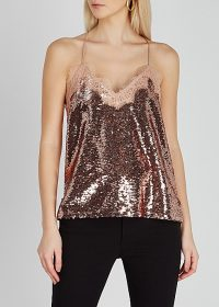 CAMI NYC The Racer lace-trimmed sequin top in rose gold ~ sequinned camisoles