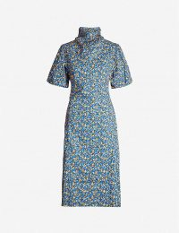 CAMILLA AND MARC Majella floral-print high-neck cotton midi dress in Lila blue