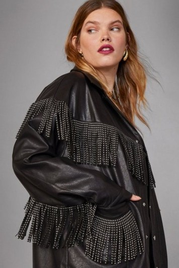 NASTY GAL x Cara Delevingne Rebel Heart Faux Leather Plus Jacket in black – fringed jackets - flipped