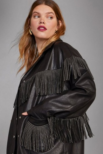 NASTY GAL x Cara Delevingne Rebel Heart Faux Leather Plus Jacket in black – fringed jackets