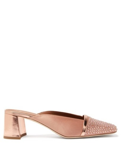 MALONE SOULIERS Carmen crystal-embellished satin mules