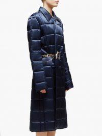BOTTEGA VENETA Chain-embellished quilted-satin coat in navy – blue designer coats