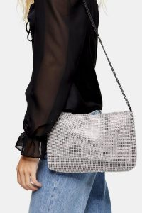 Topshop CHARM Silver Clutch Bag | metallic shoulder bags