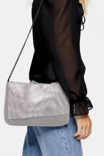Topshop CHARM Silver Clutch Bag   metallic shoulder bags - flipped