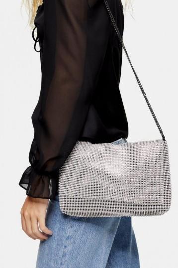 Topshop CHARM Silver Clutch Bag | metallic shoulder bags