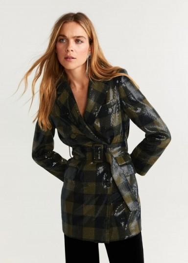 MANGO Check pailettes blazer / sequinned jacket