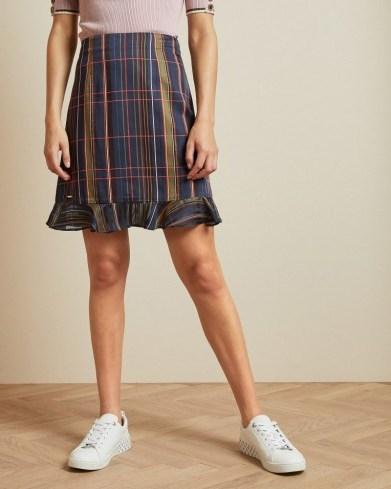 TED BAKER SIZZIE Checked mini skirt in navy / frill hem skirts - flipped