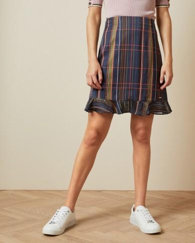 TED BAKER SIZZIE Checked mini skirt in navy / frill hem skirts