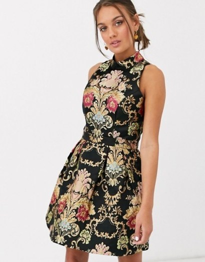 Chi Chi London Petite high neck jacquard super mini dress in multi | sleeveless fit and flare - flipped