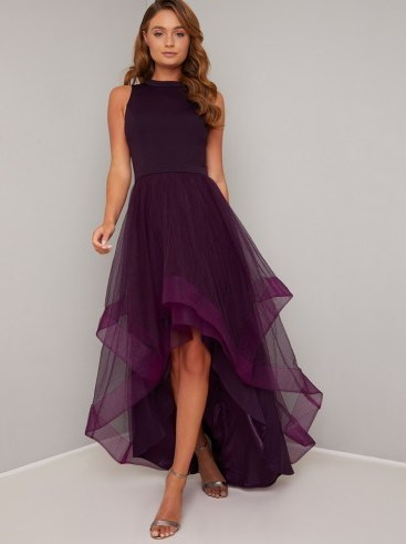 Chi Chi Thais Dress in Berry   layered high low dresses - flipped