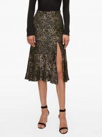 ALTUZARRA Clementine velvet-devoré fluted skirt in black / gold lamé skirts