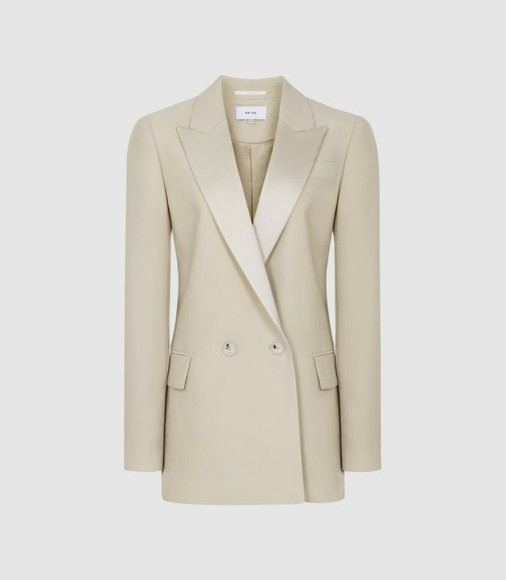 REISS CLEO DOUBLE BREASTED BLAZER CHAMPAGNE ~ luxe style jackets