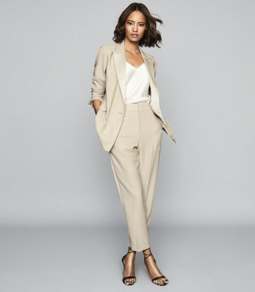 REISS CLEO TAILORED CREPE TROUSERS CHAMPAGNE ~ tapered pants