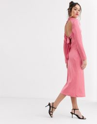 C/Meo sqaure neck satin midi dress in pink | open back dresses