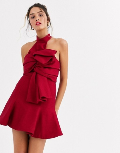 C/Meo tie front high neck mini dress in red   berry coloured occasion dresses