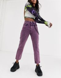 COLLUSION straight leg jeans in acid purple with chain