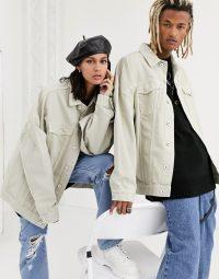 COLLUSION Unisex extreme oversized denim jacket in ecru   casual jackets
