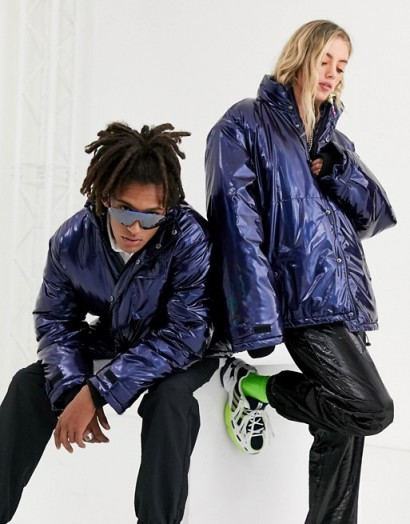 COLLUSION Unisex high shine puffer jacket in blue | shiny funnel neck padded jackets