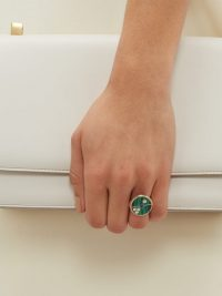 RETROUVAI Compass diamond, sapphire, malachite & gold ring ~ round green stone rings