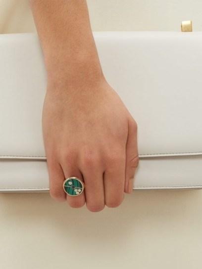RETROUVAI Compass diamond, sapphire, malachite & gold ring ~ round green stone rings - flipped
