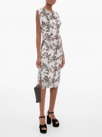 PACO RABANNE Cowl-neck floral-print chainmail dress in silver