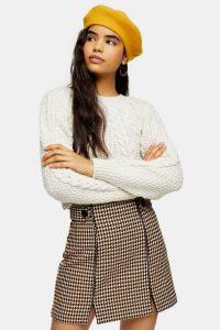 Topshop Cream And Tan Check Split Mini Skirt | front slit skirts