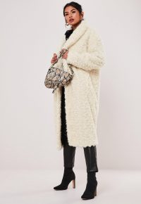 MISSGUIDED cream borg teddy curly shawl collar coat – textured luxe style winter coats