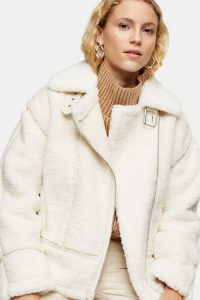 Topshop Cream Teddy Biker Jacket | luxe style winter jackets