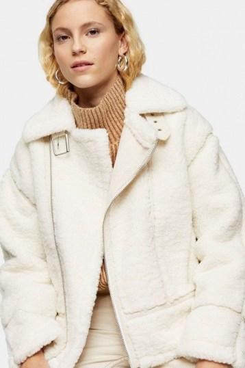Topshop Cream Teddy Biker Jacket | luxe style winter jackets - flipped