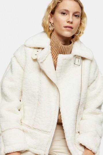 Topshop Cream Teddy Biker Jacket | luxe style winter jackets