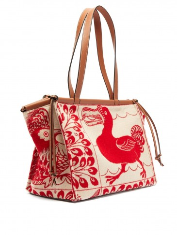 LOEWE Cushion dodo-jacquard tote bag in cream and red