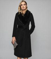 REISS DAWSON FAUX FUR SHAWL COLLAR COAT BLACK ~ classic belted winter coats