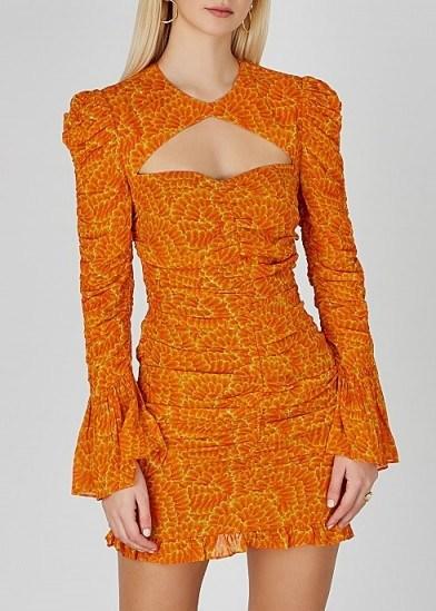 DE LA VALI Al Capone printed georgette mini dress in orange - flipped