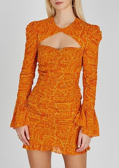 DE LA VALI Al Capone printed georgette mini dress in orange