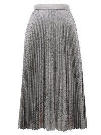 CHRISTOPHER KANE DNA pleated metallic tulle midi skirt in silver