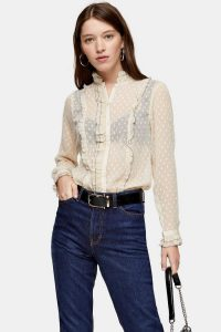 TOPSHOP Dobby Blouse With Pie Crust in Cream / frill trimmed blouses