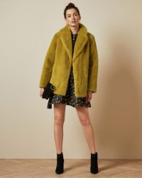 TED BAKER ZENNA Double breasted faux fur coat in yellow