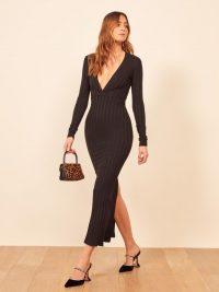 Reformation Drake Dress in Black   deep V-neckline ankle length dresses