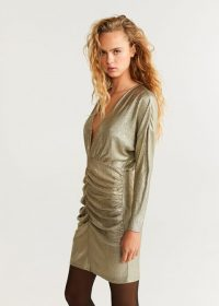 MANGO Draped neckline dress in gold