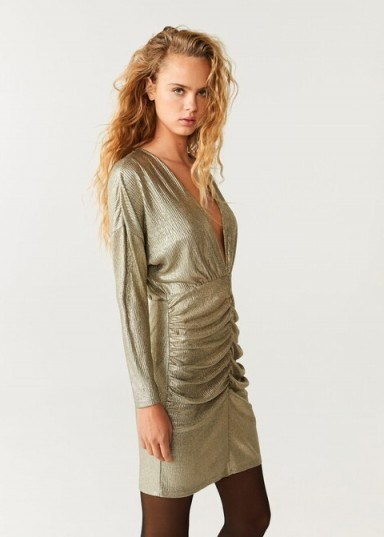 MANGO Draped neckline dress in gold - flipped