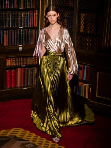 PETER PILOTTO Draped-waist pleated satin maxi skirt in dark gold