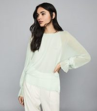 REISS EBONI SEMI SHEER DETAILED BLOUSE TURQUOISE ~ fluid fabric blouses