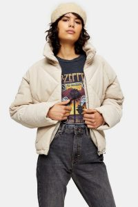 Topshop Ecru Corduroy Puffer Jacket – casual quilted winter jackets