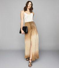 REISS EMMELINE METALLIC MAXI SKIRT GOLD ~ long luxe event skirts