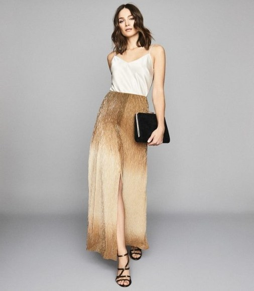 REISS EMMELINE METALLIC MAXI SKIRT GOLD ~ long luxe event skirts - flipped