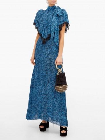 PREEN BY THORNTON BREGAZZI Epaine blue abstract-print plissé-chiffon maxi dress - flipped