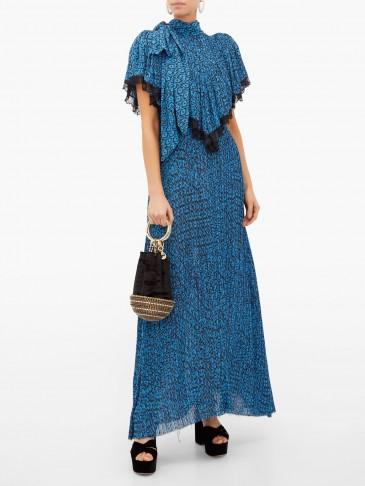 PREEN BY THORNTON BREGAZZI Epaine blue abstract-print plissé-chiffon maxi dress