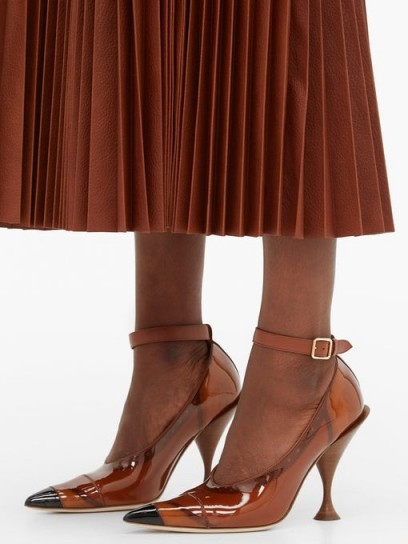 BURBERRY Evan PVC-coated leather pumps in brown