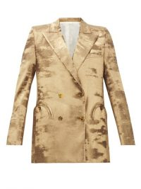 BLAZÉ MILANO Everyday double-breasted metallic jacket in gold ~ instant evening glamour